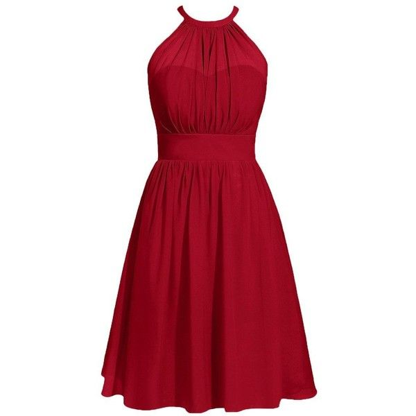 Cdress Halter Short Chiffon Bridesmaid Prom Dresses Wedding Party... (1 340 UAH) ❤ liked on Polyvore featuring dresses, gowns, red prom gowns, short evening dresses, short party dresses, red party dresses and bridesmaid gown