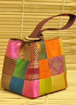 Benarasi potli  bag,Indiacraft,Brocade Square potli bags with Coconut Shell Handle - Ora...