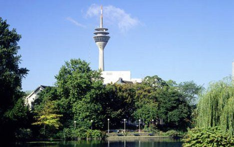 Tower and glory: The 768ft-high Rheinturm, seen from one of the city parks