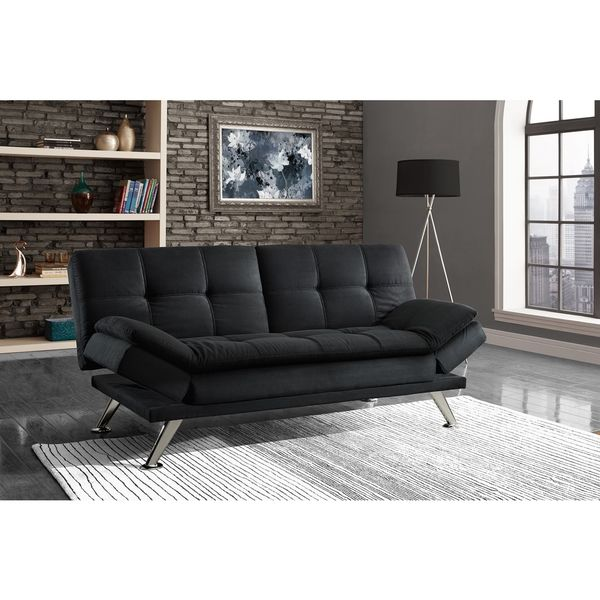Captivating Give Your Living Space A Touch Of Luxury With This Premium Black Futon.  With A