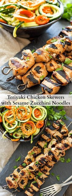 Teriyaki Chicken Skewers with Sesame Zucchini Noodles | Grilled teriyaki chicken skewers served with sesame zucchini noodles is perfect for a healthy and easy dinner!