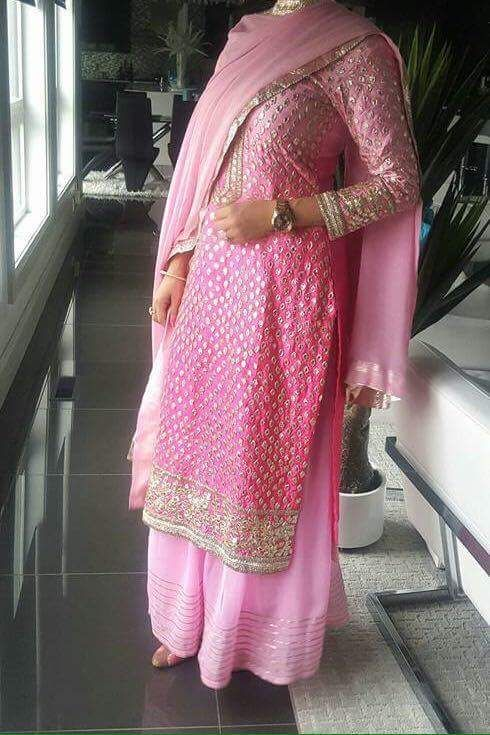 Resplendent Pink Color Designer Hand Worked Suit In Pure Silk With Dupatta