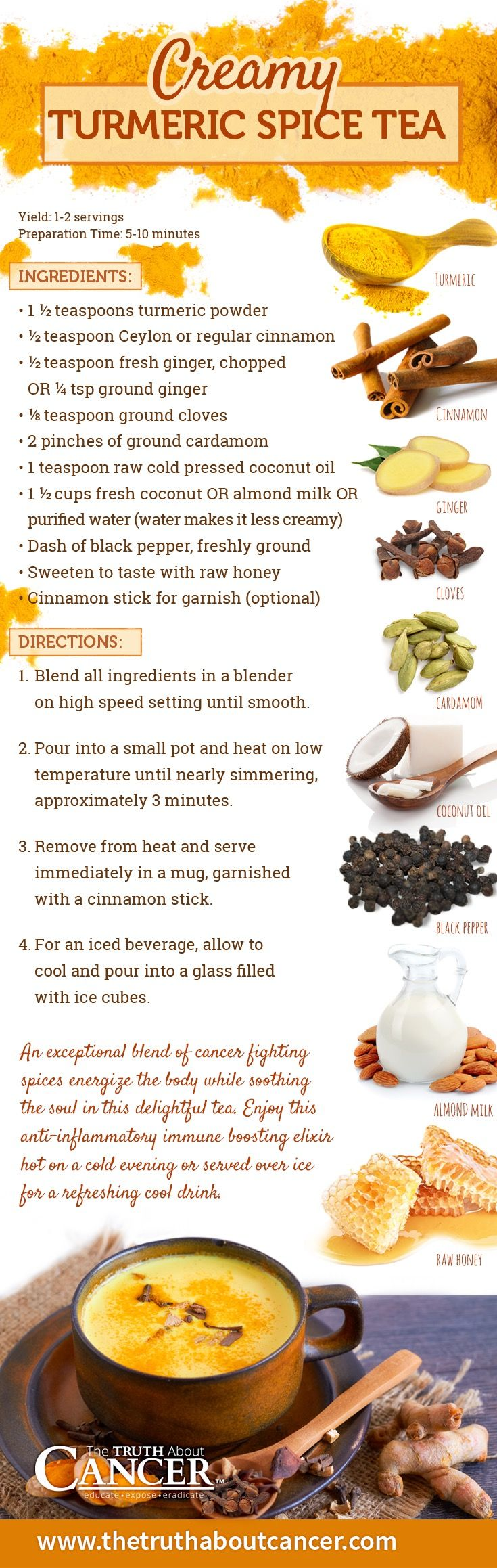 Curcumin can play a key role in the prevention and treatment of chronic inflammation diseases. For more information about the recipe to make Turmeric Tea which contains curcumin click on the picture.