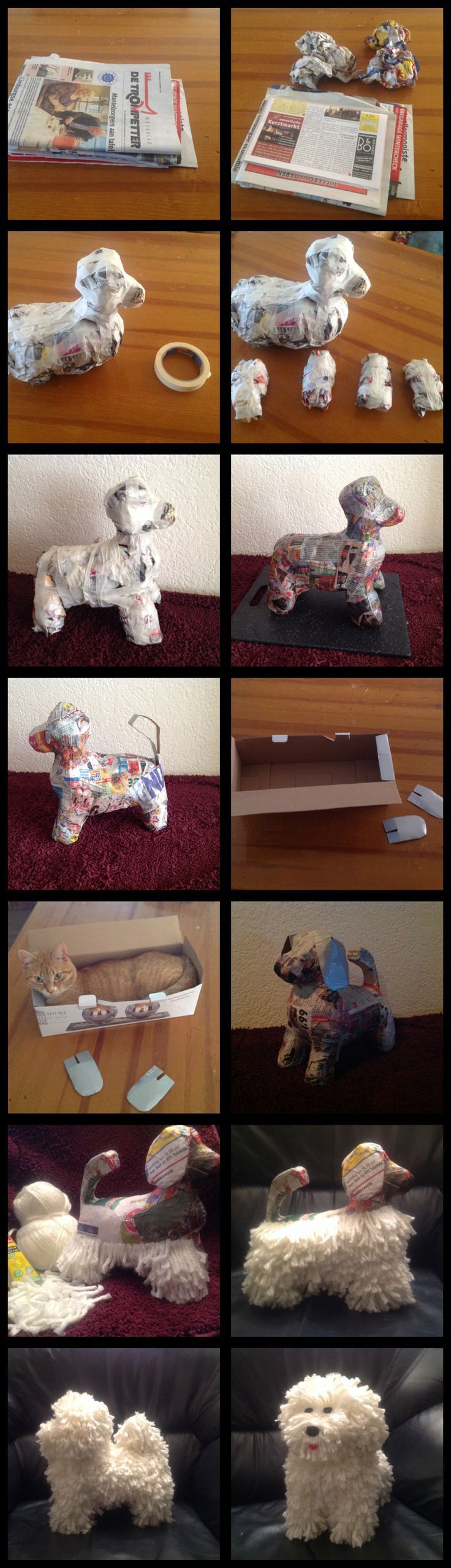 paper mache dog - I am not sure why the cat is in there, but it's a metaphor for every bad story I have ever had to mark - extraneous information! :-):