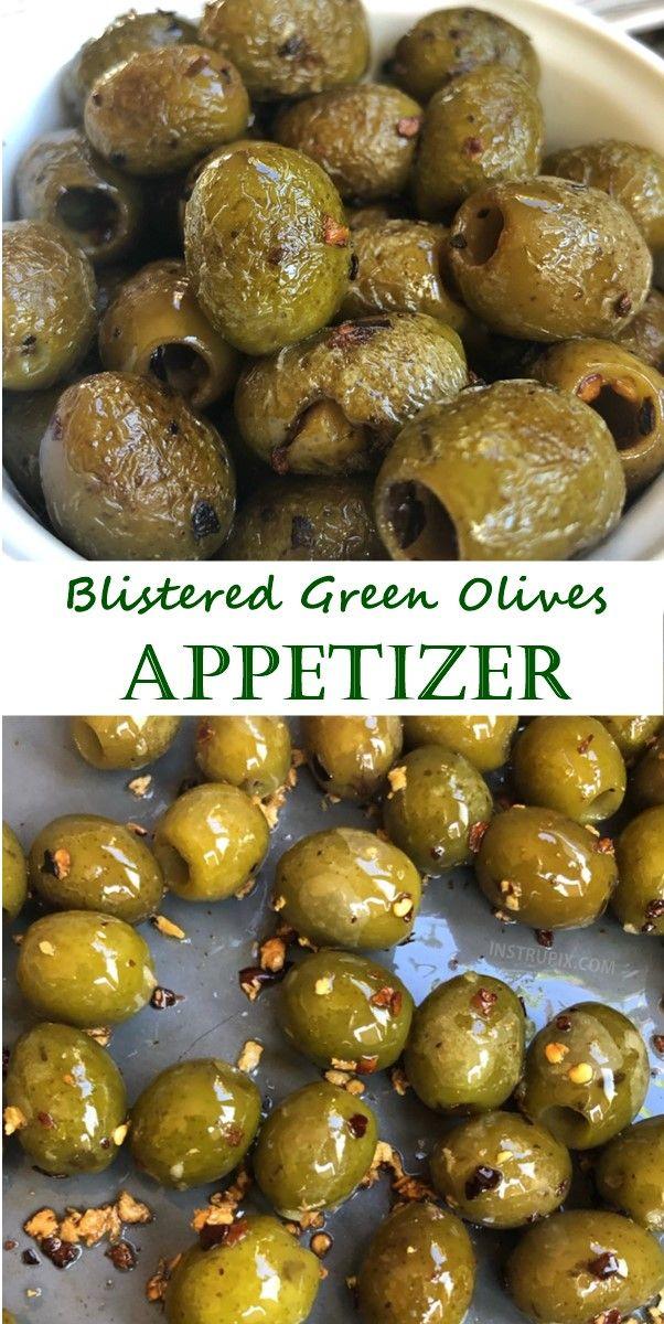 Blistered Green Olives Appetizer Keto Friendly Olive Appetizer Green Olive Appetizer Olive Recipes