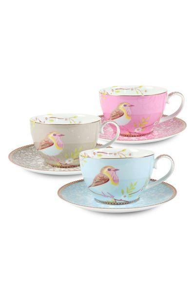 Toon details van Floral cappuccino kop & schotel roze