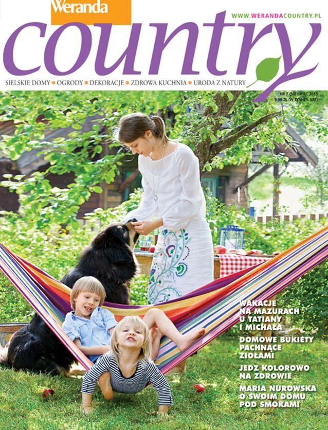 Weranda Country lipiec 2015, w numerze znajdziecie m.in.: piękne wnętrza polskich i zagranicznych domów poza miastem, przepis na bezę, pomysły na bukiety z warzyw i ziół oraz śliczne suknie ślubne w stylu country. #WerandaCountry #dom #moda #uroda #przepisy #miesięcznik #wnętrza #pozamiastem #nawsi