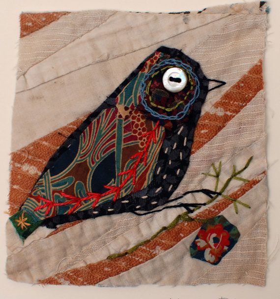 Unframed appliqued bird with embroidery on to by MandyPattullo, £25.00... hmm, raven?