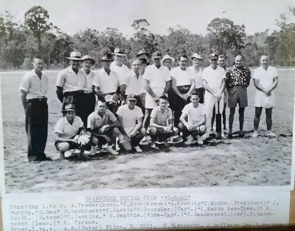 Granville Social Club 30 June 1960. Standing L-R: A Frederiksen, F Scheikowski, A Kroning, C Rohde (President), J Murphy, D Beu, M Hambrecht, R Jarvis, W Geissler (Captain), K Smith (Sec-Treas), R Smith (Patron), K Jenkins, V Beattie (Vice Captain), C Hausknecht (Jnr), C Hausknecht (Snr) and K Cirson. Front L-R: A F (Peter) Flinn, B Hill, C Hambrecht, J Hoffmann (Jnr) and G Murphy. (Photo MDFHS)