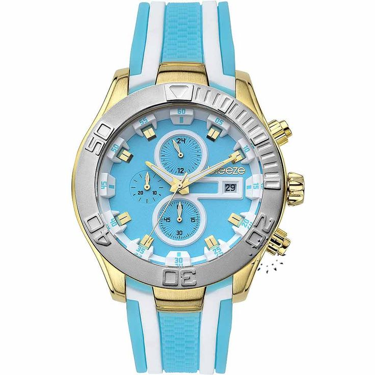 BREEZE Milkshake Stripes Chrono Light Blue Rubber Strap Τιμή Προσφοράς: 166€ http://www.oroloi.gr/product_info.php?products_id=30578