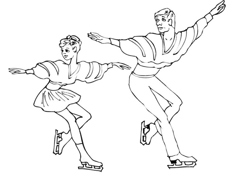 Pairs Ice Skating Coloring Page Colores Terapia