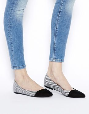 New Look Lebra Striped Flat Shoes 2014 asos