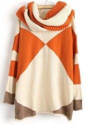 Sweet Round Neck Color Block Long Sleeve Sweater with Neckerchief For Women
