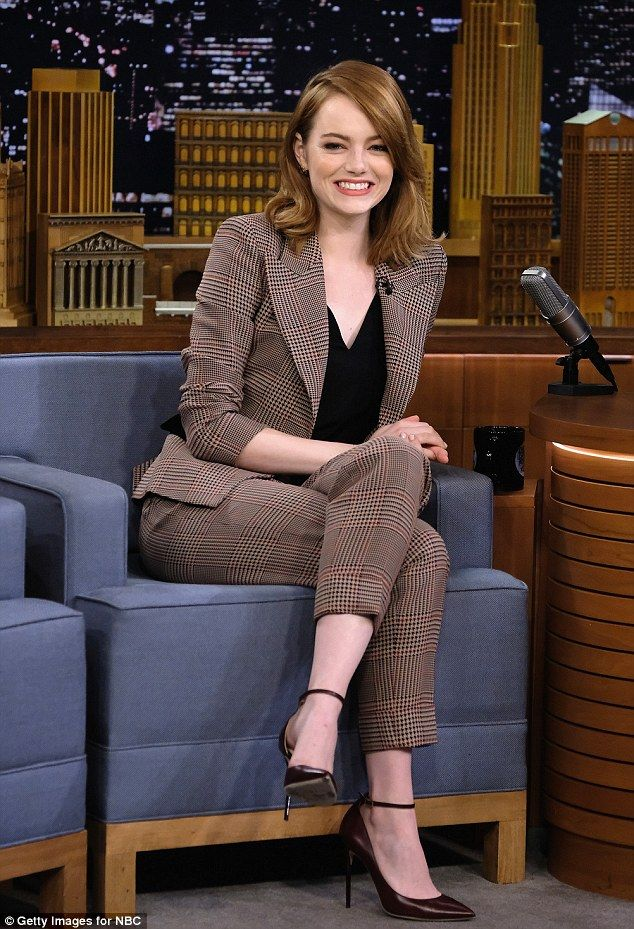 Game face! Emma Stone readied herself for a challenge on The Tonight Show With Jimmy Fallo...