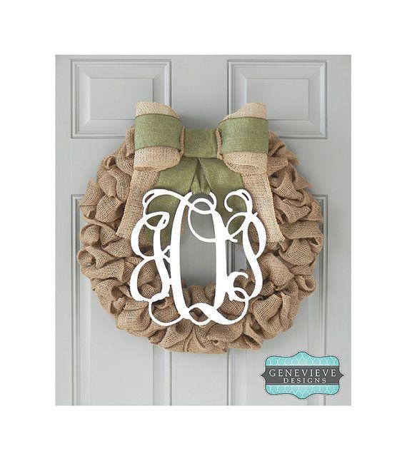 Burlap Initial Wreath - Monogram & Olive - Initial Wreath, Rustic Wreath, Front Door Wreath, Hospital Door Wreath on Etsy, $115.00