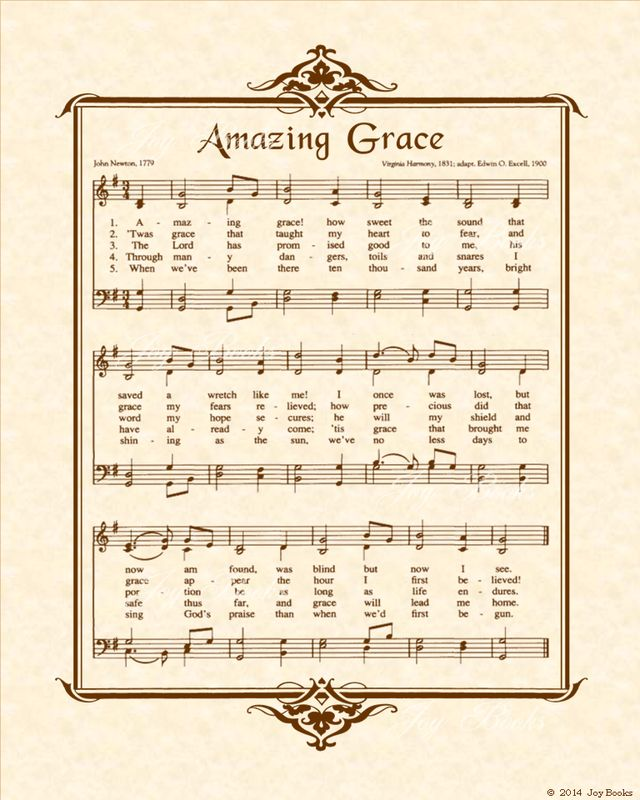 Amazing Grace - Christian Heritage Hymn, Sheet Music, Vintage Style, Natural Parchment, Sepia Brown Ink, 8x10 art print ready to frame, Vintage Verses