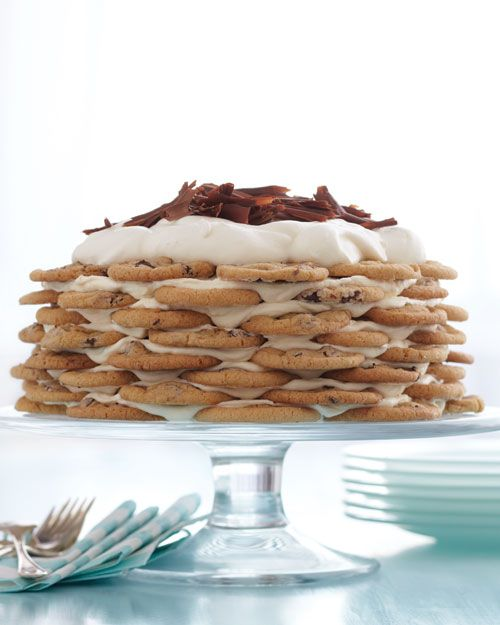 Chocolate Chip Cookie Icebox Cake - apparently it is remarkably simple but it needs to sit in the freezer 24 hours before cutting.