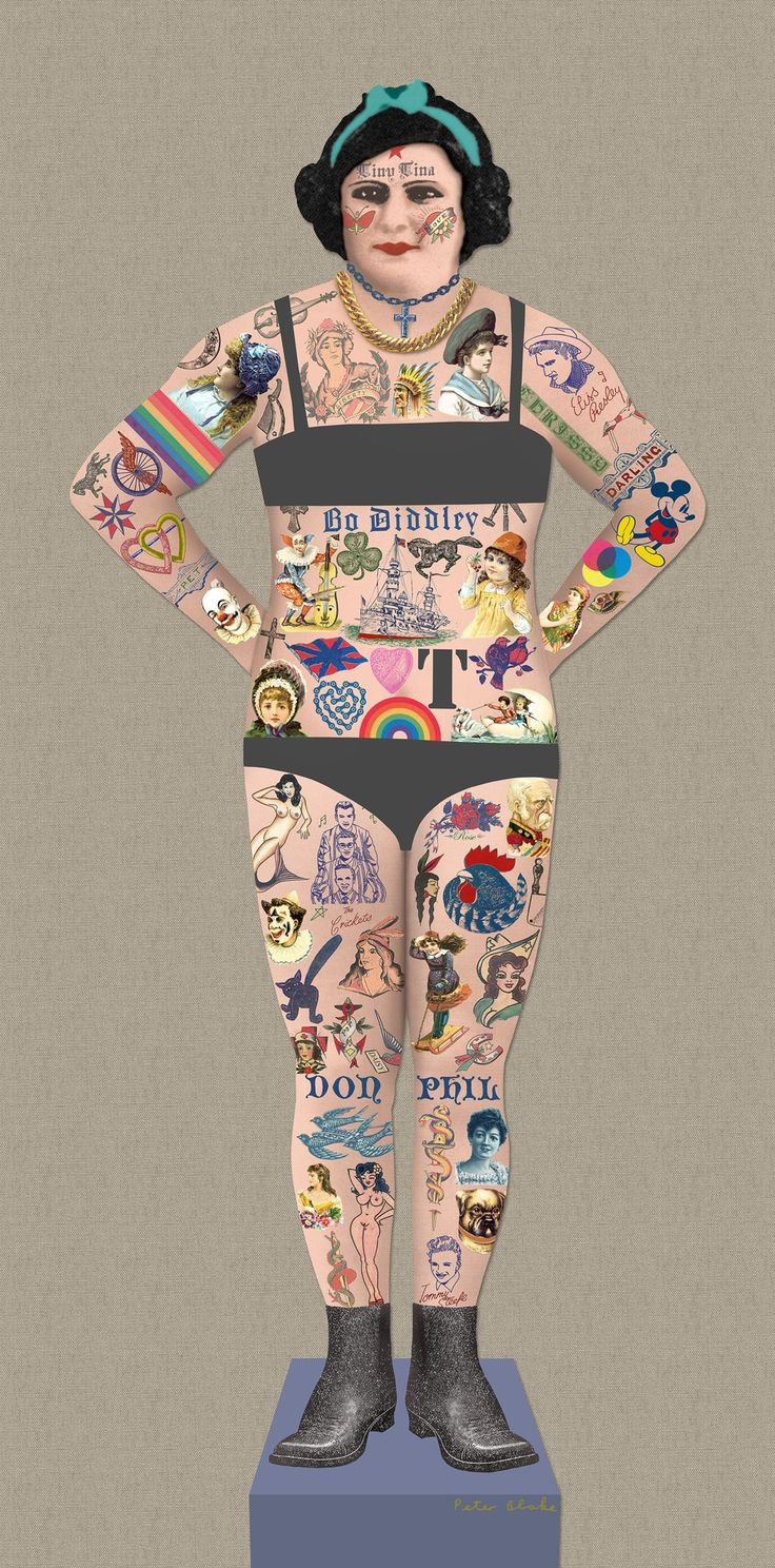 Tiny Tina the Tattooed Lady (Giclee with Collage Signed Limited Edition of 100) by Peter Blake