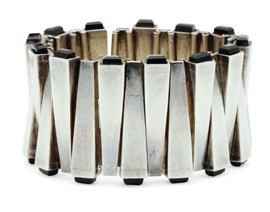 Bracelet | Antonio Pineda.  Sterling silver with obsidian tips.