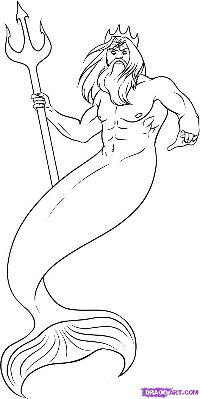 How To Draw Poseidon, Step By Step, Greek Mythology