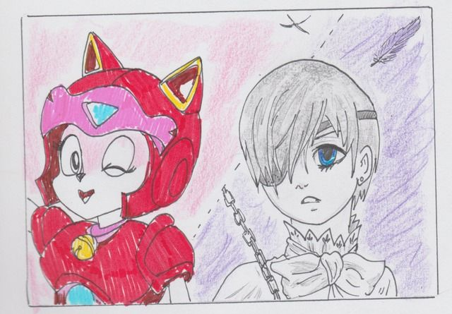 Black Butler meets Samurai Pizza Cats, quick comic, suggested by Alex C, pen and pencil, Jenny Jump