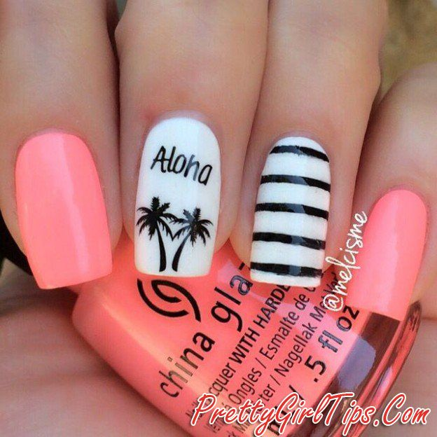 @prettygirltips Black- White and Pink Nails via
