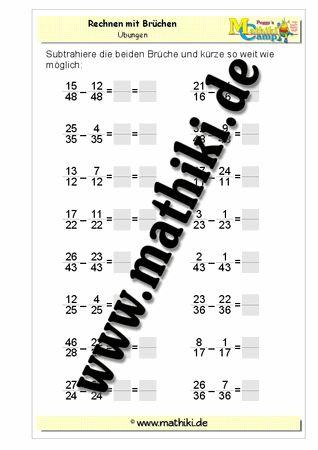 Subtraktion gleichnamiger Brüche - ©2011-2016, www.mathiki.de - Ihre Matheseite im Internet #math #fraction #arbeitsblatt #worksheet