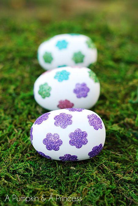 Easter Egg Crafts Flower Glitter Eggs
