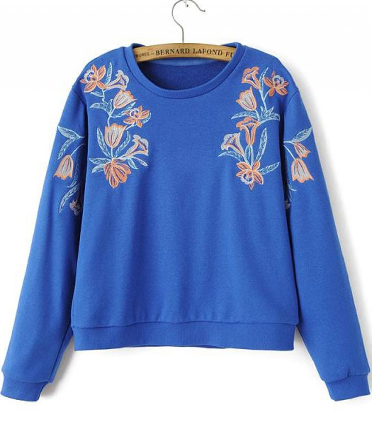 Blue Long Sleeve Embroidered Loose Sweatshirt