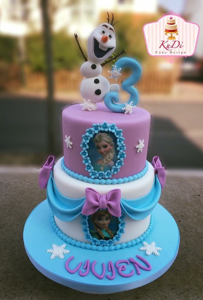 Frozen cake Olaf, Anna and Elsa