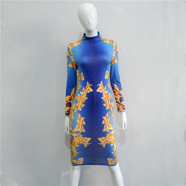 New Autumn Dresses Women Flower Print Blue Party Work Office Dress Sheath Long Sleeve Casual Turtleneck Lady Dress