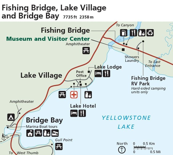 100 ideas to try about yellowstone national park maps for Fishing bridge campground