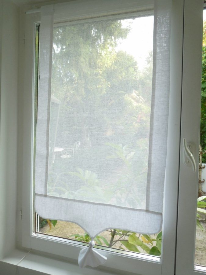 : Brise bise lin blanc Modèle PENSEE 35x120 cm