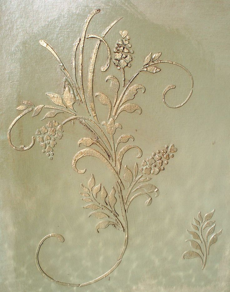 Fleurs D' Amour Plaster Stencil What a fun stencil design this is! The curved styling of this raised plaster stencil makes it perfect as a random wallpaper or central stencil on cabinetry, furniture, even large outdoor pots. And it comes with that cute little matching leaf sprig to use in between wall repeats or a separate element for smaller projects. http://victorialarsen.com/plaster_stencil_fleurs_d_amour.html
