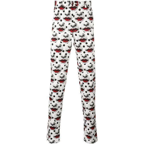 Comme Des Garçons Homme Plus lips print straight trousers (€690) ❤ liked on Polyvore featuring men's fashion, men's clothing, men's pants, men's casual pants, white, mens white pants and mens polyester pants