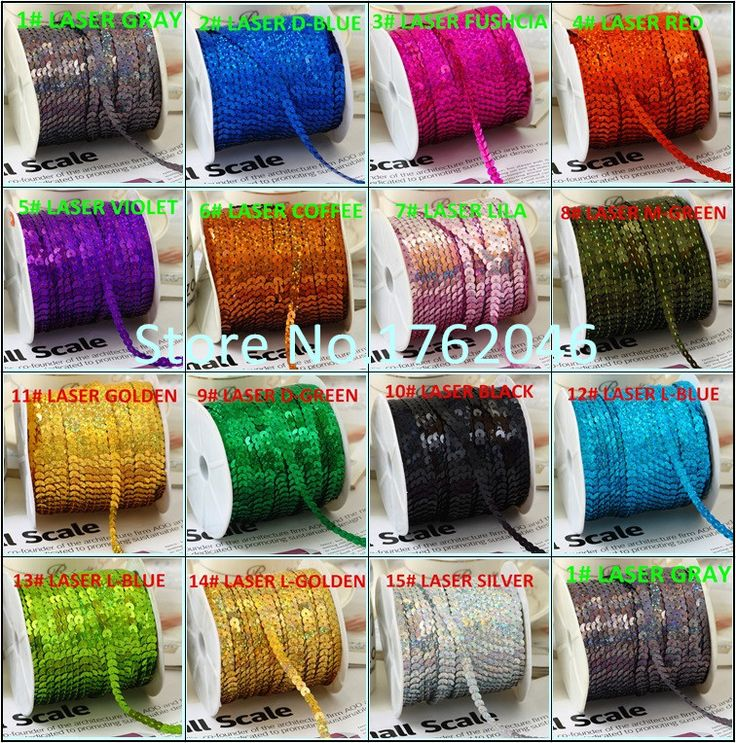 100Yard 6mm Laser Spangle Sequins Ribbon Trim Sewing Paillette Strings Flat Round Sequins in Roll For Crafts Clothing