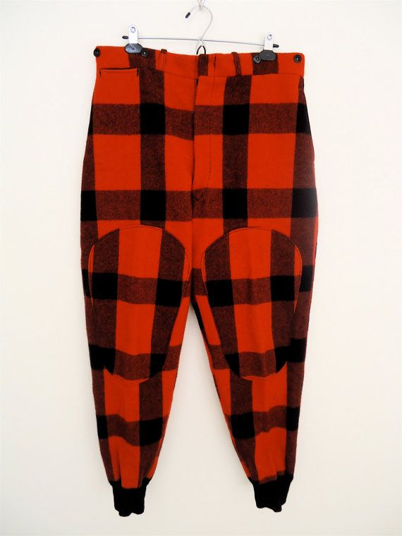 Classic Woolrich Flannel Trousers /  vintage red & black check wool hunting pants / men's 34