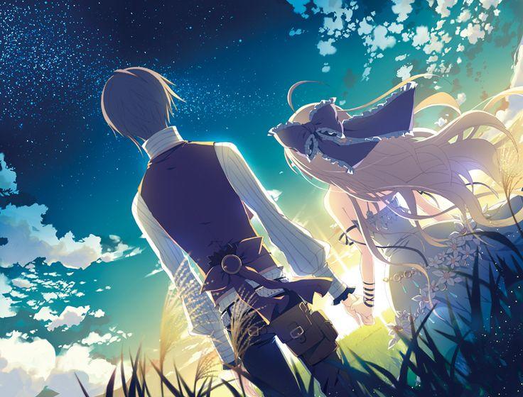Anime Girls Boy Holding Hands Sky