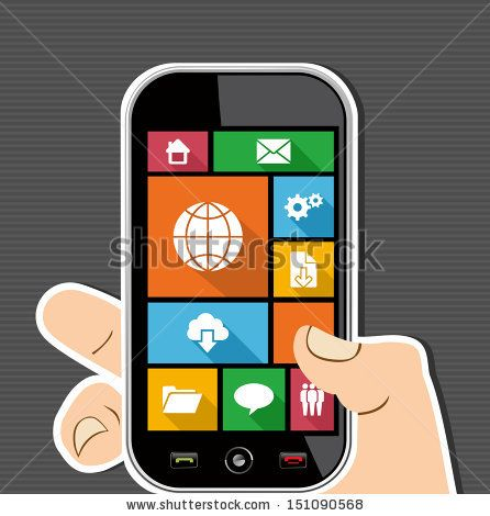 Internet elements human hand holds a smart phone UI applications graphic user interface flat icons set. Vector layered for easy editing. by ...