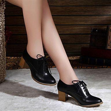 Zapatos de mujer - Tacón Plano - Comfort / Punta Redonda - Oxfords - Exterior / Casual - Semicuero - Negro / Blanco / Beige 2016 – $18.89