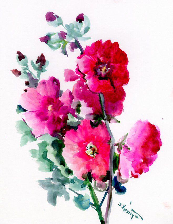 Dark Pink Hollyhock Flowers Original Large Watercolor Painting