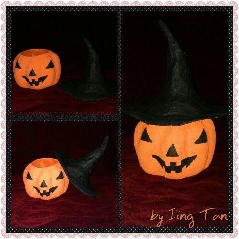 Hallowen pumpkin from newspaper