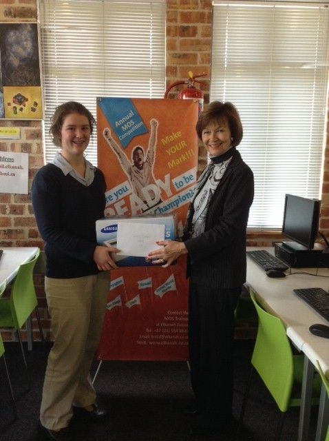 Claire Fielden was one of the South African Semi-Finalists in the recent Microsoft Office Specialist Championships held at Elkanah House. She recently received the acknowledgement of achievement for being top in South Africa for the Microsoft Word 2010 category.