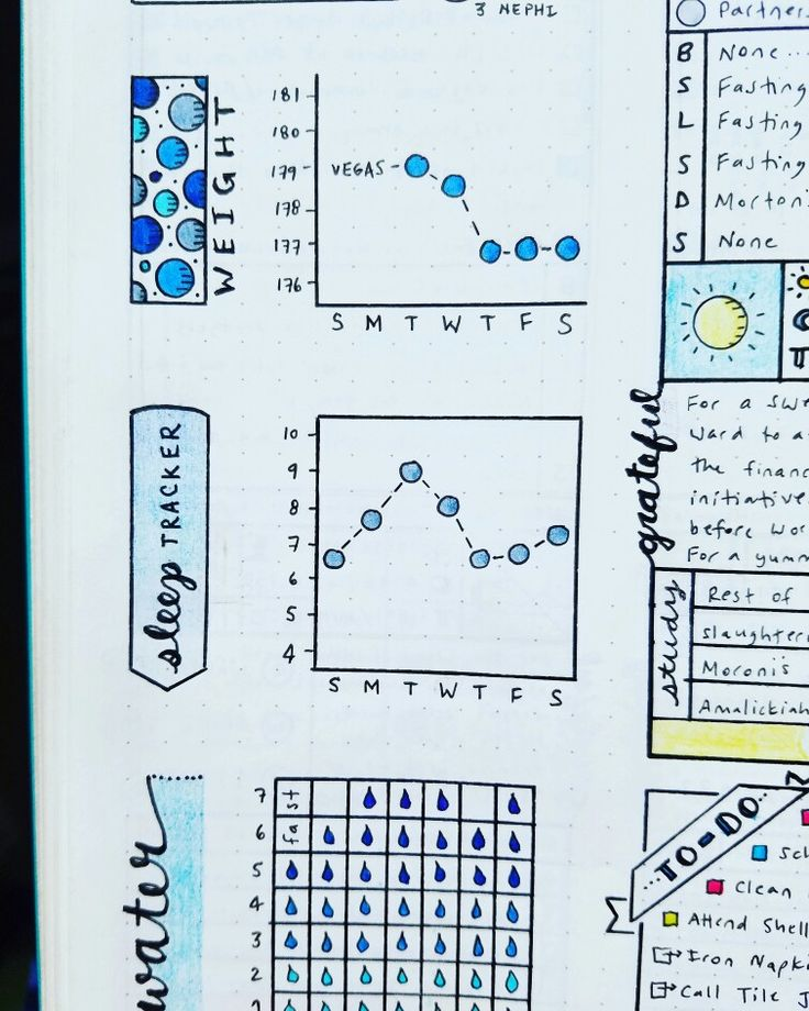 Weight, Sleep, and Water Trackers  Bullet Journal