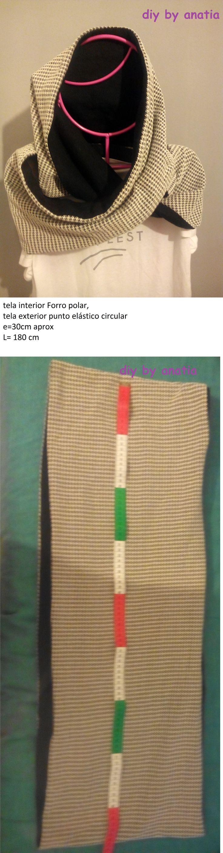 cuello bufanda capucha de forro polar y punto hooded fleece scarf and point