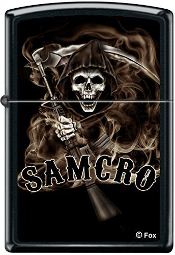 Zippo SOA Sons of Anarchy SAMCRO Reaper Black Matte Windproof Lighter RARE. Sons of Anarchy. Black Matte Finish. Original Zippo Packaging. Made in USA. Zippo Lifetime Guarantee.