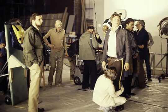 Harrison Ford, Carrie Fisher, Billy Dee Williams, Irvin Kershner, and Gary Kurtz on the set of The Empire Strikes Back in 1979.