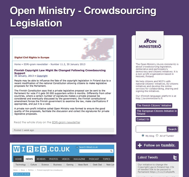 The Open Ministry (Avoin ministeriö) is about crowdsourcing legislation, deliberative and participatory democracy and citizens initiatives. It is a non-profit organization based in Helsinki, Finland.