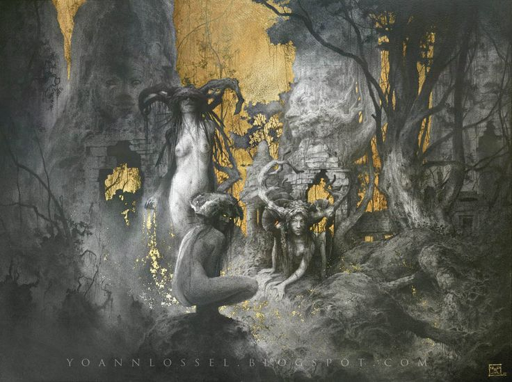 """""""The Fall"""" - Graphite, Gold leaf and hydrangea petals - 28,7/23,6"""" - 73/60cm My tribute to the myth of Leda. Fine Art Prints available here : Or here, for the Deluxe Edition : Visit my facebook art..."""