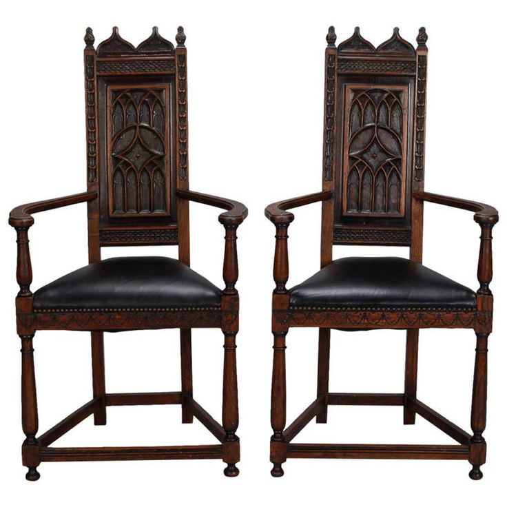 Perfect Pair Of French Gothic Style Oak Hall Chairs